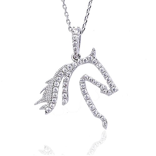 NickAngelo's Horse Pendant Necklace Elegant Fashion Jewelry Cubic Zirconia For Women (rhodium-plated-copper, cubic-zirconia) (Cubic Zirconia Pendant Jewelry)