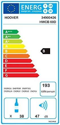 Hoover HWCB 60D - Vinoteca de integración, 38 botellas, 2 zonas, Filtro carbón, Compresor antivibraciones, Iluminación led, 39dba, 116l, Clase D[Clase de eficiencia energética D]