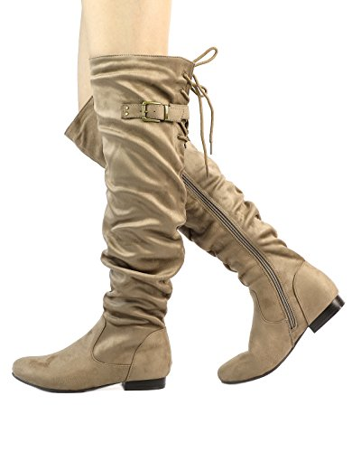 The Pull On PAIRS Knee DREAM Casual Over Slouchy Khaki Boots Women's Fashion wgdfywCXqR