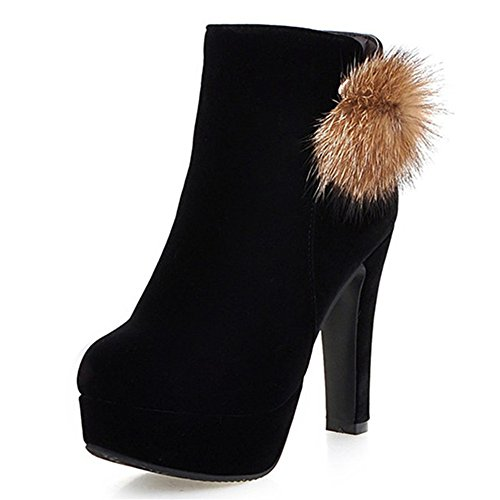 Fashion Heel Womens Chunky Heel Round Toe Platform Ankle Bootie with Fur Black qOKnVx9W6o
