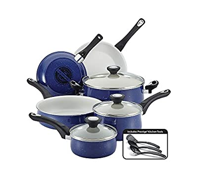 Farberware New Traditions Speckled Aluminum Nonstick 12-pc. Blue Cookware Set