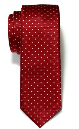 Retreez Pin Dots Woven Microfiber Skinny Tie - Red Wine with Pink Pin (Wine Pin Dot)