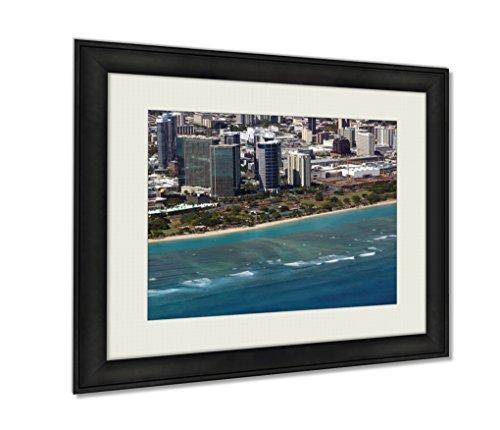 Ashley Framed Prints, Aerial Of Ala Moana Beach Park Mall Condos And Cityscape Of H, Black, 20x25 Art, - Moana Mall Hawaii Ala