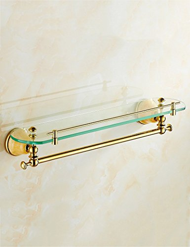 Wall Mounted Basin Stand - DIDIDD Shelf-Extremely Firm Shower Shelf Mirror Before the Makeup Stand Gold Jade Pendant Bathroom Wall-Mounted Marble Single - Layer Glass Shelf Ensuring Quality,1