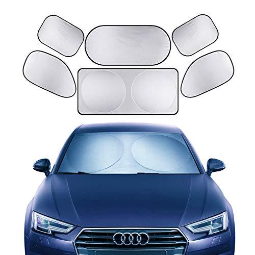 XBRN 6 Pcs Car Windshield Sunshade UV Protector Folding Silvering,Car Window Sun Shade Visor Shield Cover, Sun Shade UV Reflector, Keeps Vehicle Cool, Sun Protection for Baby Auto Car SUV