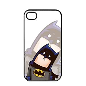 Popular Cute Cartoon Batman Apple iPhone 4 4S TPU Soft Black or White case (Black)