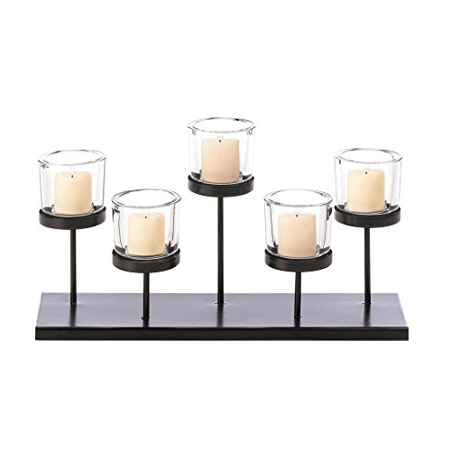 Glass Candle Holder Set, Rustic Decorative Cylinder 5 Cups Candles Holders