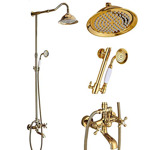 (Votamuta Bathroom Wall Mounted Rainfall Shower Faucet Set with Hand Sprayer Gold Finish Dual Handles Bathtub Shower Mixer Tap)