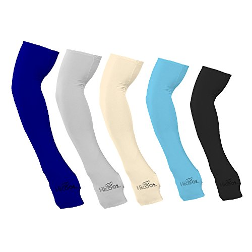 Kseey Anti-UV Ice silk Arm Sleeve with Hand Cover with Thumb Holes Cover Cycling Sun Protective Sleeves-5 Pair MIX