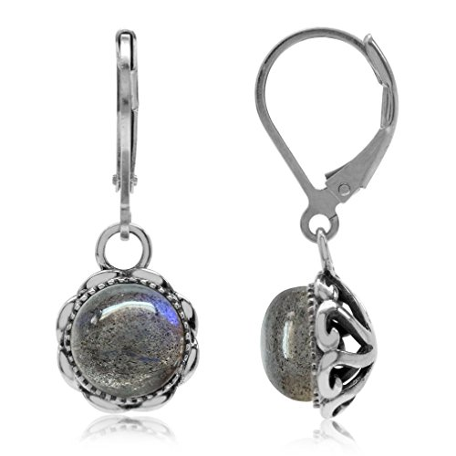 Natural Labradorite Antique Finish 925 Sterling Silver Filigree Leverback Dangle Earrings