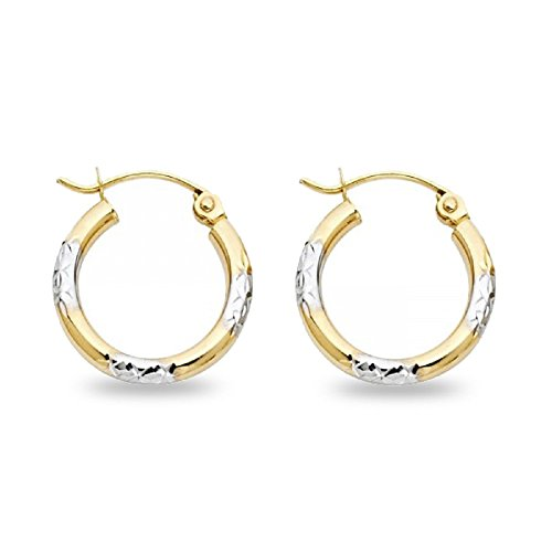 Small Round Hoop Earrings Solid 14k Yellow & White Diamond Cut Two Tone Polished Finish 15 x 2 mm