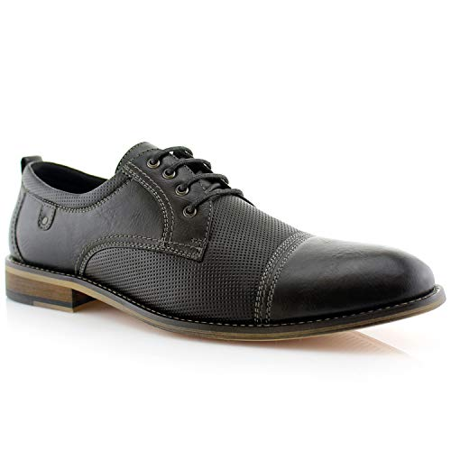 Ferro Aldo Felix MFA19605L Mens Casual Cap Toe Perforated Oxford Dressing Shoes – Black, Size 11