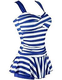 Womenu0027s One Piece Striped Slim Padded Swim Dress Bathing Swimwear
