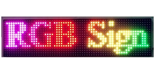 Ultra Bright RGB Led Display Board,P10 SMD Full Color Indoor Semi Outdoor Led Message Sign 25 x 6.5 inch LED Text Display Screen Support USB Programmable Rolling Information for Store Advertising ()