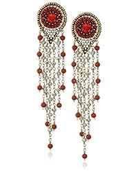 Miguel Ases Swarovski Carnelian Multi-Cascading Drop Earrings