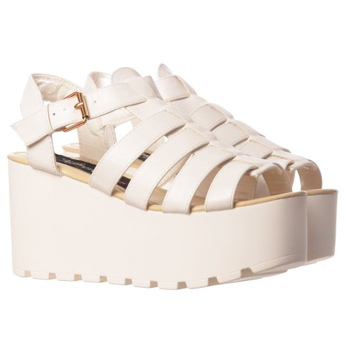Onlineshoe Women's Cut Out Gladiator Platform Summer Sandals Chunky Sole Wedges White Pu JtlbzNIiw
