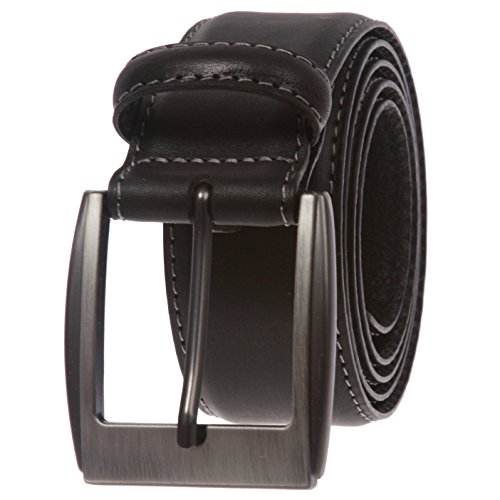 Men's Feather Edged Italian Leather Casual Belt with Stitch Edge, Black | 44/46 (Feather In Italian)