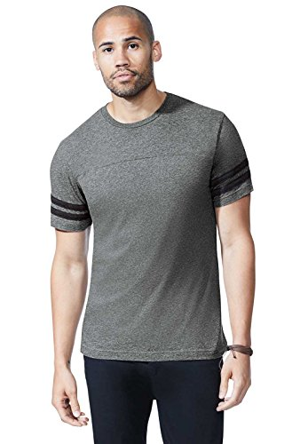 LAT Men's Fine Jersey Crew Neck Short Sleeve Football Tee (Vintage Smoke/Blended White, Large)