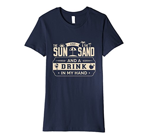 Women's Sun Sand Drink In my hand beer alcohol vacation beach shore XL Navy