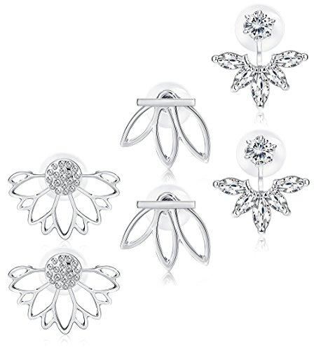 Jstyle 3 Pairs Lotus Flower Earrings Jackets For Women Girls Simple Chic Ear Stud Earrings Silver