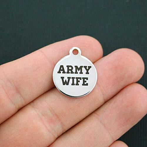 Army Wife Charm Polished Stainless Steel - Quantity Options - BFS028