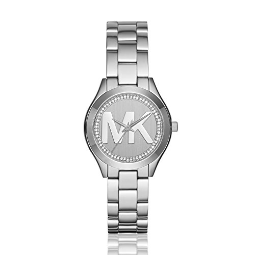 Michael Kors Women's Mini Slim Runway Logo Silver-Tone Watch MK3548