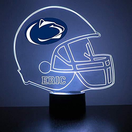 Mirror Magic Store Penn State Nittany Lions Football Helmet LED Night Light with Free Personalization - Night Lamp - Table Lamp - Featuring Licensed Decal ()
