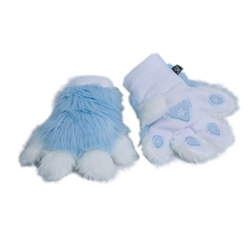 [Pawstar Paw Mitts Furry Animal Hand Paws Costume Gloves Adults - Light Blue] (Kitten Bear Costume)