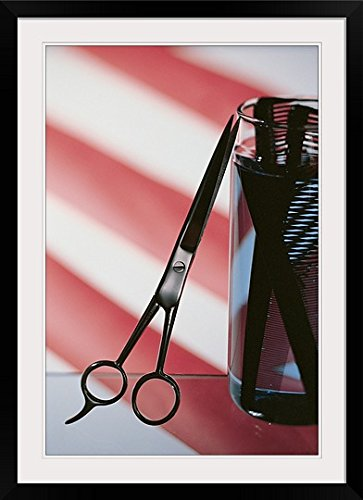 GreatBIGCanvas ''Still Life of Barbershop Pole with Scissors & Combs'' Photographic Print with black Frame, 24'' X 36''''