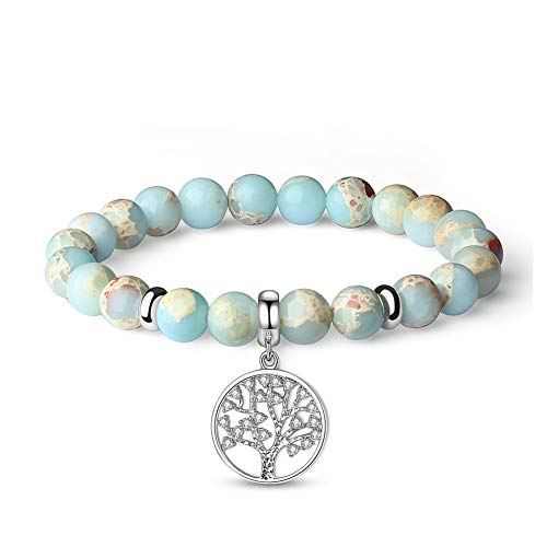 Vlinsha Tree of Life Anxiety Gemstone Bracelet, Semi Precious Crystals and Healing Stones Yoga Beaded Bracelets Dainty Family Tree Jewelry Gifts for Women Girls, Chakra Bracelet Christmas Xmas Gifts