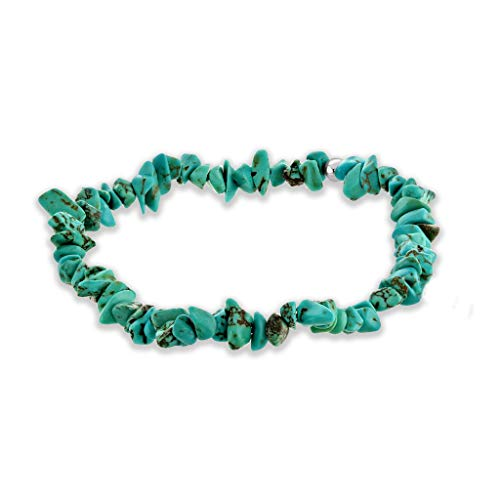 Believe London Turquoise Bracelet Gemstone Healing Bracelet Chakra Bracelet Anxiety Crystal Natural Stone Men Women Stress Relief Reiki Yoga Diffuser Semi Precious (Turquoise Crystal Chip -