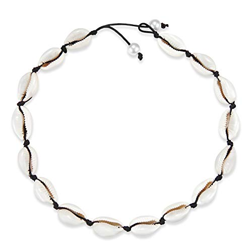 (Fesciory Puka Shell Choker Necklace for Women Hawaiian Beach Pearl Cowrie Summer Necklace, Handmade Boho Natural Seashell Jewelry for Girls(Black Pearl))