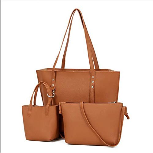 Bag Women's À QZTG Set sac Bags Main à Fourre Pcs Set PU Tout Capacité Grande 3 Dark Purse marron Gray Light Brown De Grey Sacs Rivet main qtYHt