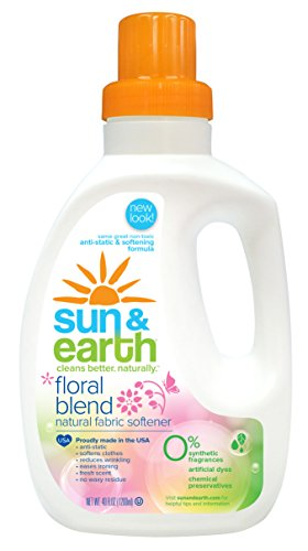 Sun & Earth Natural Fabric Softener, Floral Blend, 40 Ounce (Pack of 6)