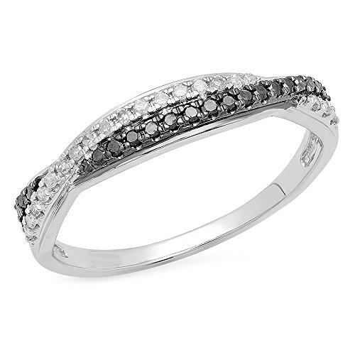 Dazzlingrock Collection 0.20 Carat (ctw) 10K Round Black & White Diamond Wedding Swirl Band 1/5 CT, White Gold, Size 7 (Gold 10k Design Swirl White)
