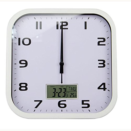 L&M Intelligent Automatic School Time Wall Clock Square Calendar Electronic Clock Temperature Date Week Watches And Clocks , white by zhang