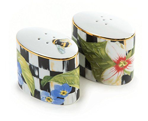 MacKenzie-Childs Salt and Pepper Shaker -Thistle & Bee Black and White, Enamel Courtly Check Print Set of 2 Mini Oval Grinder 1.5'' Wide, 2.75'' Long, 2.5'' Tall by MacKenzie-Childs