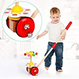 Celendi Kid Toy Creative Wooden Baby Walk Single Rod Spiral Trolley Learning Education Toy Cart for Children's Day Gift