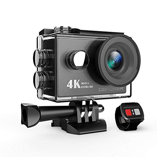 - DBPOWER 4K Action Camera 12MP Ultra HD Waterproof Sports Cam with Built-in WiFi 170 Degree Wide Angle Lens 2 Inch LCD Screen Plus 1050mAh Rechargeable Battery (Camera+Accessories)