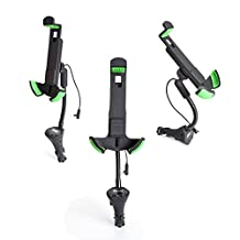 """MANDCG ®Universal Car Charger Mount, 3 in 1 Car Mount Phone Holder, Car Dock Station Mount Holder Cradle/USB 3.1A Car Charger/FM Transmitter for iPhone 6/6s/5S/5C, Samsung Galaxy S6, Google Nexus, and other 4-6.3"""" Phones and GPS (Green)"""