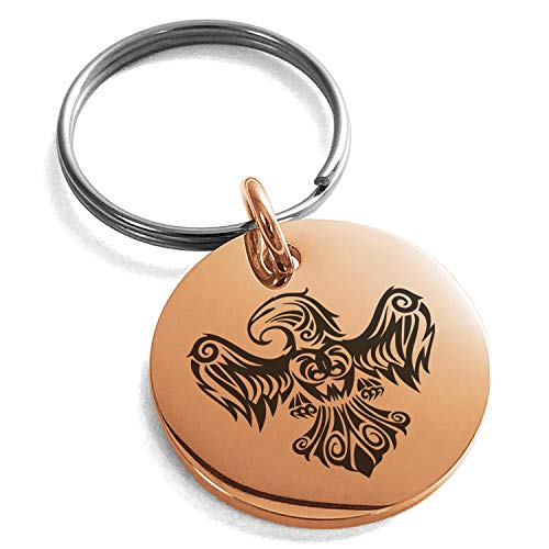(Tioneer Rose Gold Plated Stainless Steel Aztec Power Strength Courage Rune Symbol Engraved Small Medallion Circle Charm Keychain Keyring)