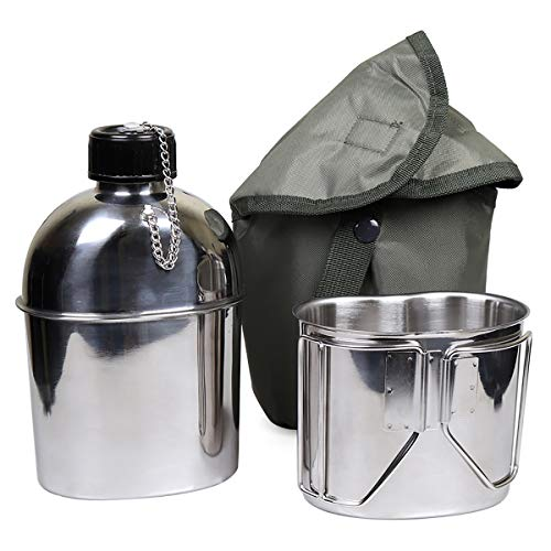 Goetland Stainless Steel WWII US Military Canteen Kit 1.2QT with 0.6QT Cup Nylon Cover G.I.