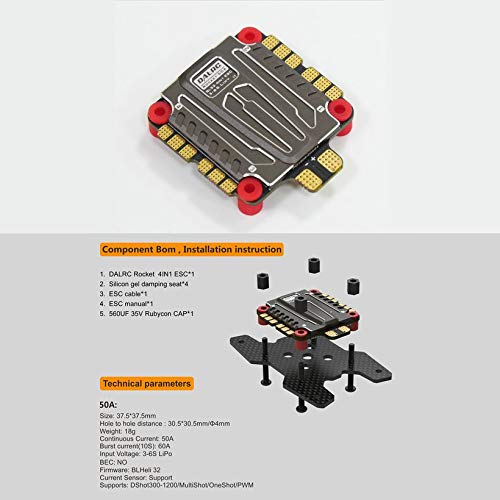 Wikiwand DALRC Rocket 50A 4 in 1 ESC Brushless 3-6S Blheli_32 LIHV DSHOT1200 for Drone by Wikiwand (Image #5)