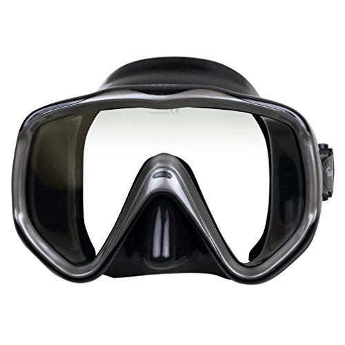 ScubaMax Abaco Single Lens Oversize Dive Mask Scuba Snorkeling Swimming (Sliver with Black Skirt)