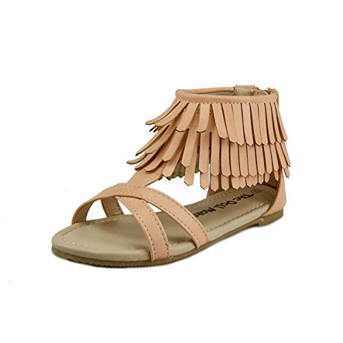 Western Stylish Girl's Sandal Shoes Strap Fringe Layers at ankle Back Zip Toddler size (9, Peach) (Straps Fringe)