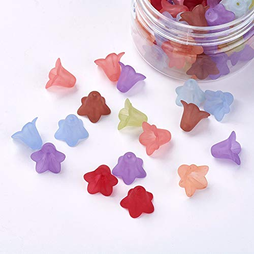Pandahall 1Box/75pcs Frosted Mixed Flower Transparent Acrylic Flower Beads Loose Spacer Beads Caps DIY Jewelry Making Accessory - Bell Flower Tulip