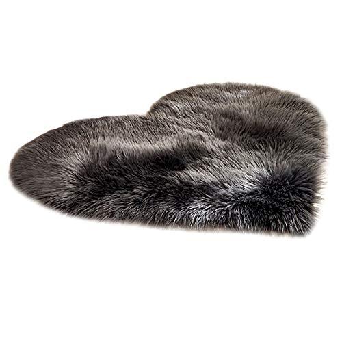 Monoche Wool Imitation Sheepskin Rugs Heart Shape Faux Fur Non Slip Shaggy Carpet Mats Perfect for Girls Bedroom Decor Livingroom 30 x 40 cm(11.81 x 15.74inch) (Black)