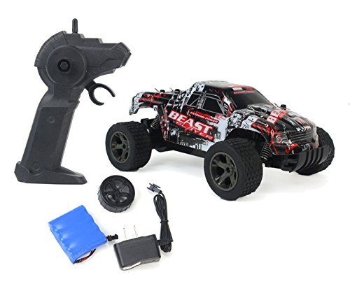 Cheetah King Remote Control Red Toy Rally Truck RC Car 2.4 GHz 1:18 Scale Size w/ Working Suspension, Spring Shock Absorbers