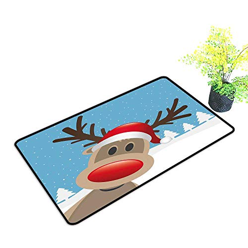 260aee918ea54 Zmstroy Pet Door mat Christmas Reindeer Rudolph with Red Nose and Santa  Claus Hat Snowy Forest