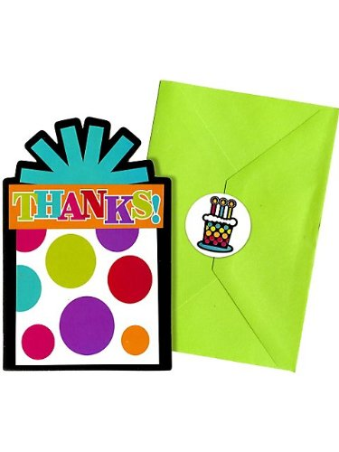 Party On Polka Dot Happy Birthday Postcard Thank You Cards , Pack of 20, Multi , 4 1/4
